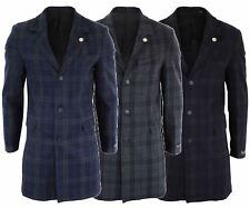 Mens 3/4 Long Crombie Over Coat Jacket Wool Feel Check Peaky Blinders Slim Fit
