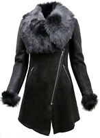 Women's Black Suede Merino Sheepskin Leather Coat With Toscana Collar