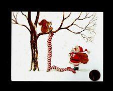 Vintage Christmas Santa Squirrel Tree Long Stocking - Greeting Card W/ Tracking