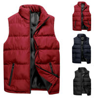 Mens Sleeveless Puffer Jackets Winter Coat Padded Quilted Zip Vest Outwear Tops