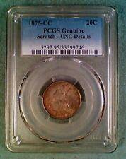 1875-CC 20 Cent Piece Seated Liberty PCGS UNC Details (011)