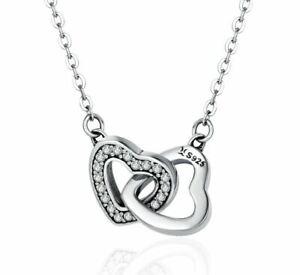 Interlocked Hearts Necklace Genuine 925 Silver