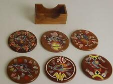 Old Set Of Six Round Wooden Coasters With Holder Animal Design UK Free Postage