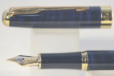 Baoer No. 388 Blue & Black Marble Medium Fountain Pen with Gold Plated Trim