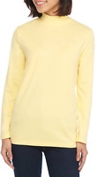Kim Rogers Cotton Fine Ribbed Mock Neck L/S Top XXL Yellow  Msrp. $26.