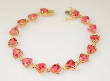 10K YELLOW GOLD TRILLION CUT DEEP PINK CZ BRACELET 10.7 GRAMS  7.25 INCHES