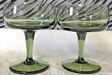 2 Gorham ACCENT GREEN Champagne/Sherbet glasses 4 3/8 inches tall 1969-1974