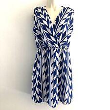 Peach Love Cream Women's Large Dress Cinched Waist V-Neck Sleeveless Blue White