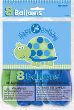 1ST Birthday Turtle Balloons 8PK M40455 Party Supplies Helium Quality Decoration