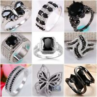 Fashion 925 Silver Black Sapphire Ring Wedding Bridal Women Jewelry Gifts Sz5-11