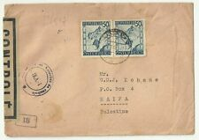 Austria Old Cover sent to Haifa Palestine  With Censor Label & Cachets 1947