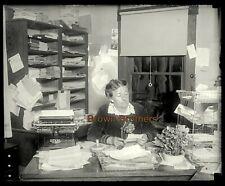 1909 Mystic Knowledge Rosicrucian Order Woman Bookeeper Glass Camera Negative #1