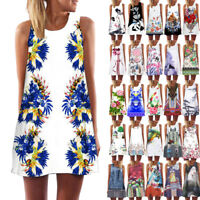 Vintage Boho Women Summer Sleeveless Beach Printed Short Mini Dress Top Shirt AU