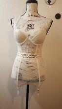 Victoria's Secret Swarovski White High Neck Merrywidow Corset Size 34C