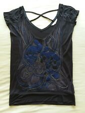 JASPER CONRAN SHORT SLEEVED JERSEY EMBROIDERED TOP NAVY UK SIZE 8