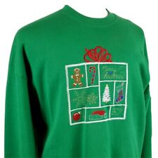 Vintage Merry Christmas Sweatshirt XL Jerzees Green 50/50 Embroidered Made USA
