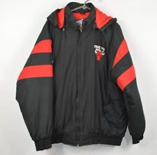 Vintage 90s Logo 7 Mens XL Chicago Bull Spell Out Hooded Puffer Jacket Black Red