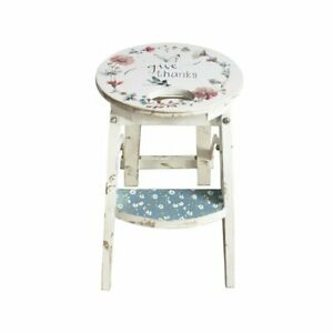 Charming Round Country Design White Wooden Step Stool Floral