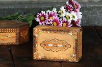 Hand Carved Wooden Little Vintage Trinket Box Wood Box Jewelry Box Keepsake Box