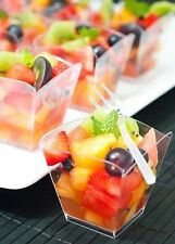 10 Small Plastic Square Cups - - - - high quality clear cube dessert holders