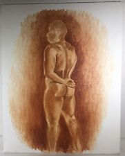 """Vintage 20"""" Oil Painting Canvas Board Nude Male Body Back Pose Gay Interest"""