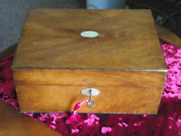 Nice antique victorian Jewellery box with lift out tray and working lock and key