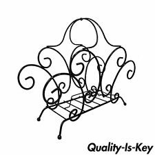 Vintage Wrought Iron Scrolling Hollywood Regency Whimsical Magazine Rack Stand