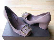 $650 Gucci Kesha Shoes Pumps Buckle Ornament Logo Old Mauve Suede sz 36 US 6 NIB