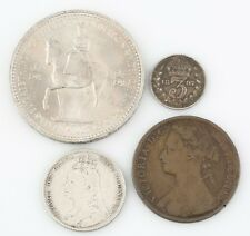 Great Britain Coin Lot 1876 Penny 1892 Shilling 1897 3 Pence 1953 Crown VF-UNC