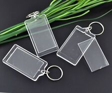 10 pcs-Acrylique Transparent Blanc Porte-Clefs/Key ring 66 mm x 36 mm Outils Craft Q54