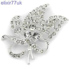 SILVER FLOWER & LEAF BOUQUET DIAMANTE CRYSTAL BROOCH WEDDING BRIDAL PARTY BROACH
