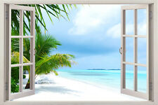 Huge Window Wall sticker Tropical View Island beach Wallpaper Vinyl Decor 3d Mur