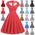 50s 60s Retro Vintage Floral Polka Dots Dress Swing Pinup Party Cocktail Dresses