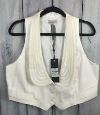 Jump Be First NWT Womens Size 5 Vest White With Sequins on Lapel Cotton Spandex