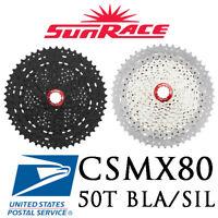 Sunrace CSMX80 11-50T 11 Speed Mountain Bike Cassette Black Silver MTB