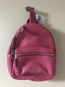 New Women's Coach Mini Charlie Pebble Leather Backpack Magenta F38263