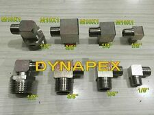 "Pipe to Metric Fitting 1/8"" NPT Male to M10 M10X1 Male Gauge Meter 90 Deg N-H9"