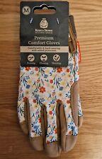 Kent&Stowe Premium Comfort Gloves Ladies Size Medium M Cream Meadow Flowers NEW