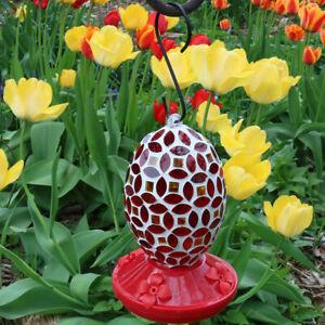 "Sunnydaze Hanging Hummingbird Feeder Outdoor Red Mosaic Glass Flower Design - 7"""
