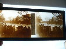 PLAQUE DE VERRE PHOTOGRAPHIE ANCIENNE BOIS DE BOULOGNE FÉVRIER 1929 PATINAGE