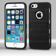 BLACK/BLACK BRUSHED METALLIC CASE SHOCKPROOF COVER FOR iPHONE 5 / 5S / SE