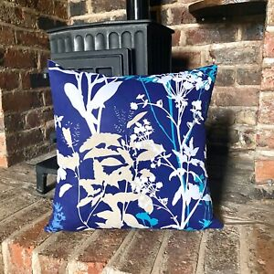 1076. BLUE FIELD FLOWERS 100% Cotton Cushion Cover. Various sizes