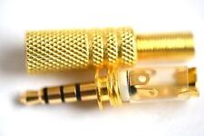 Alta Calidad Golden 4 Polos Macho de 3.5 mm para auriculares Jack Plug Metal Audio Soldar