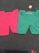 Girls Leggings 2 Pairs I New Without Tags Green With Spots 1 Plain Pink TU
