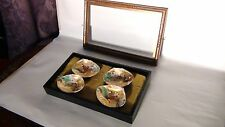 "SET OF 4 ANTIQUE 19c JAPANESE MINIATURE HAND PAINTED SHELLS""COURT SCENE""IN CASE"