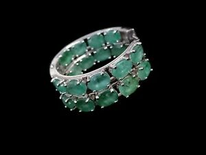 Natural Oval Cut Emerald 6*4mm 14k White Gold 925 Sterling Silver Huggie Earring