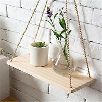 Premium Wood Swing Hanging Rope Wall Mounted Floating Shelves – Plant Flower Pot