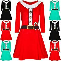 Womens Christmas Ladies Santa Costume Belted Candy stick Round Neck Swing Dress