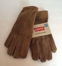 Mens Levi's Brown Tan Suede Genuine Leather Fleece Lined Gloves Sz M Med
