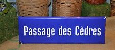 Vintage French Blue Enamel Street Sign Passage des Cedres Passage Cedars Plaque